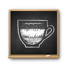 square chalkboard with chalked latte coffee vector image