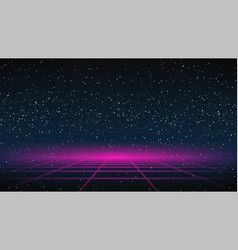 Synthwave grid background 80s retro future vector
