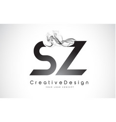 Sz letter logo design with black smoke vector