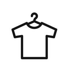 T-shirt on hangers simple outline black icon vector