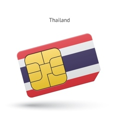 Thailand mobile phone sim card with flag vector