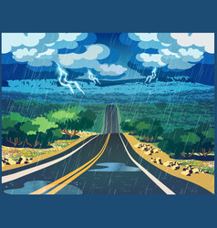 Thunderstorm in the valley vector