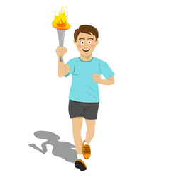 Torchbearer athlete running with sport torch vector