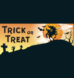 Trick or treat lettering with headless horseman vector