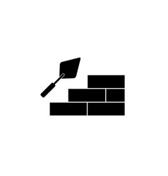 Trowel with brick wall icon vector