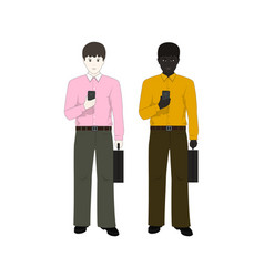 Two businessmen with phones vector