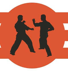 two men are engaged in karate on a red background vector image