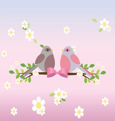 Two pigeons on a tree branch vector image