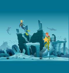 Underwater ruins old city diver explorers vector