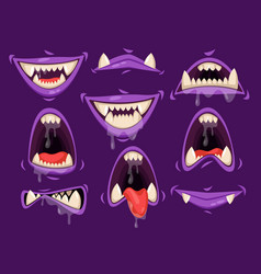 Vampire mouth with scary emotions monster jaw vector