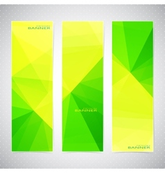 vertical polygonal set banners in green and vector image