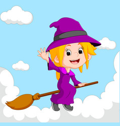 Witch riding on a broom vector