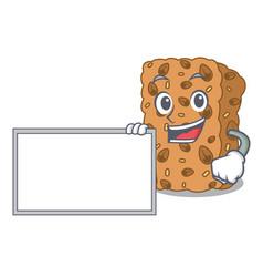 With board granola bar character cartoon vector