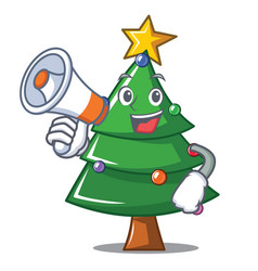 with megaphone christmas tree character cartoon vector image