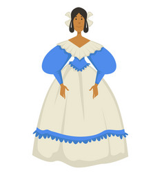 Woman in ball gown or dress biedermeier style vector