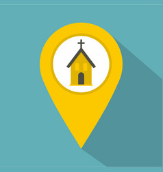 yellow map pointer with church sign icon vector image