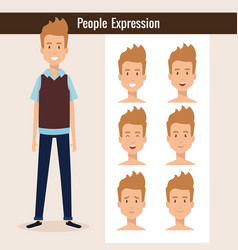 young man with set expression vector image