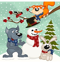 animals make snowman vector image