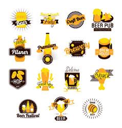 craft beer hand drawn logos vector image vector image