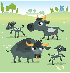 Farm animals cow set vector image vector image