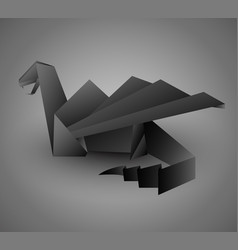 origami black dragon card or calendar template vector image vector image