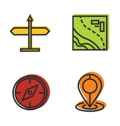 Road tourist line icons with color background vector image