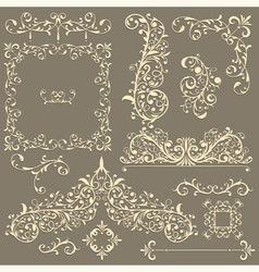 vintage floral design elements vector image vector image