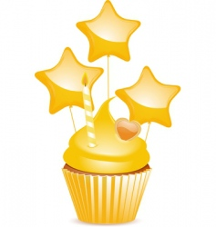 yellow birthday cupcake vector image vector image