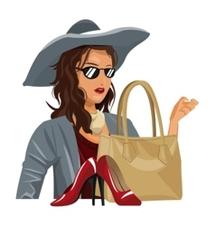 Beauty wo trendy clothes with red heel purse vector