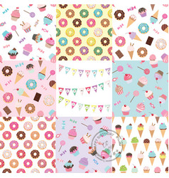 birthday seamless pattern set with sweets vector image