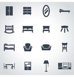 black furniture icon set vector image