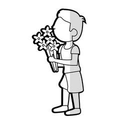 cartoon son boy bouquet flowers vector image vector image
