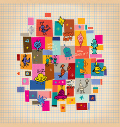 doodle collage cartoon characters design elements vector image vector image