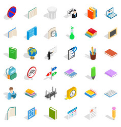 School education icons set isometric style vector