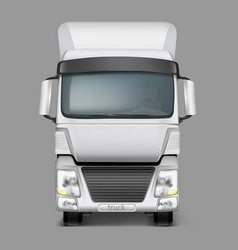 3d realistic cargo truck front view vector image