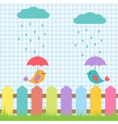 Background with birds under umbrellas vector image