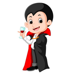 cartoon dracula with glass of blood vector image