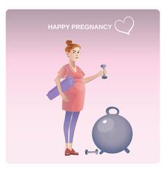 cartoon healthy pregnancy concept vector image