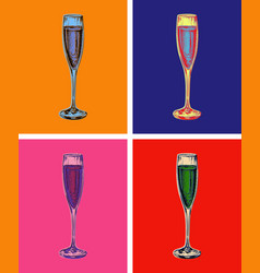champagne glass hand drawing vector image vector image