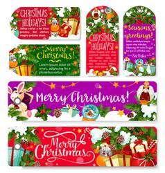 Christmas tag and banner of winter holiday season vector