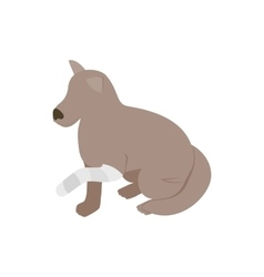 Dog with broken paw icon isometric 3d style vector image vector image