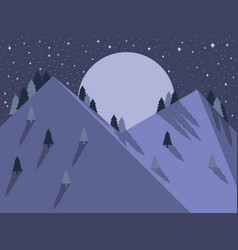 night mountain landscape flat style full moon vector image