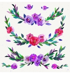 Watercolor symmetrical floral elements isolated on vector image vector image