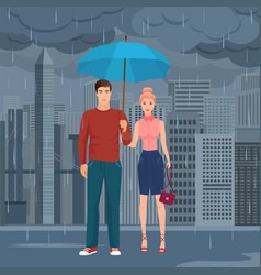 young happy couple pair standing under the vector image