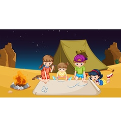 Children camping out in the desert vector image vector image