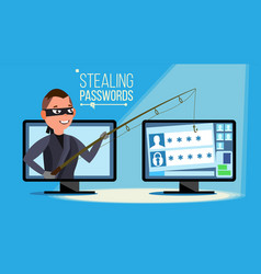 hacking concept hacker using personal vector image vector image