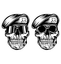 Skull in beret vector image vector image