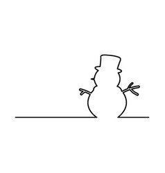 snowman black line isolated on white vector image vector image
