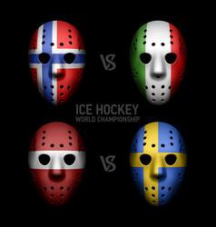 Vintage goalie masks with flags vector image