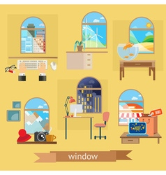 Window set of flat design vector image vector image